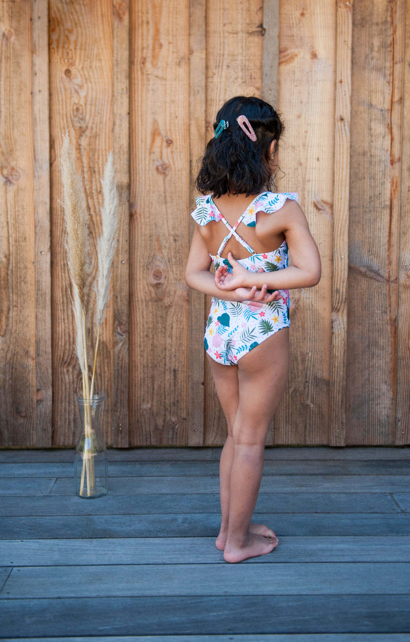MAILLOT FILLETTE - Imprimé Tropical Blanc