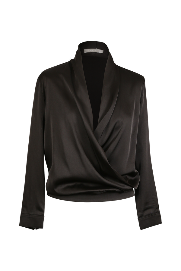 Silk-Satin Wrap Top with Pearl Buttons Blouse- Perfect your own way