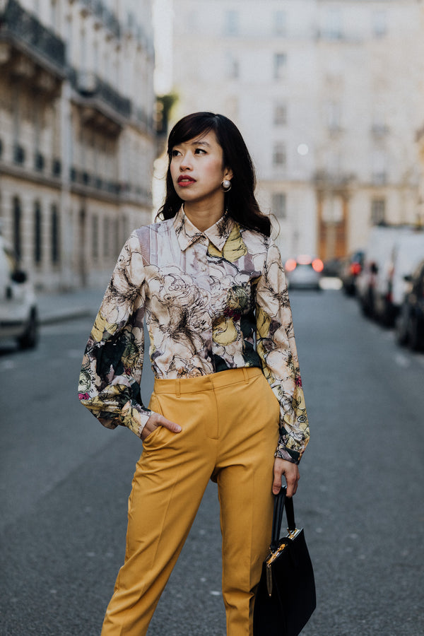 Printed Volume Sleeved Silk Satin Shirt top- Perfect your own way