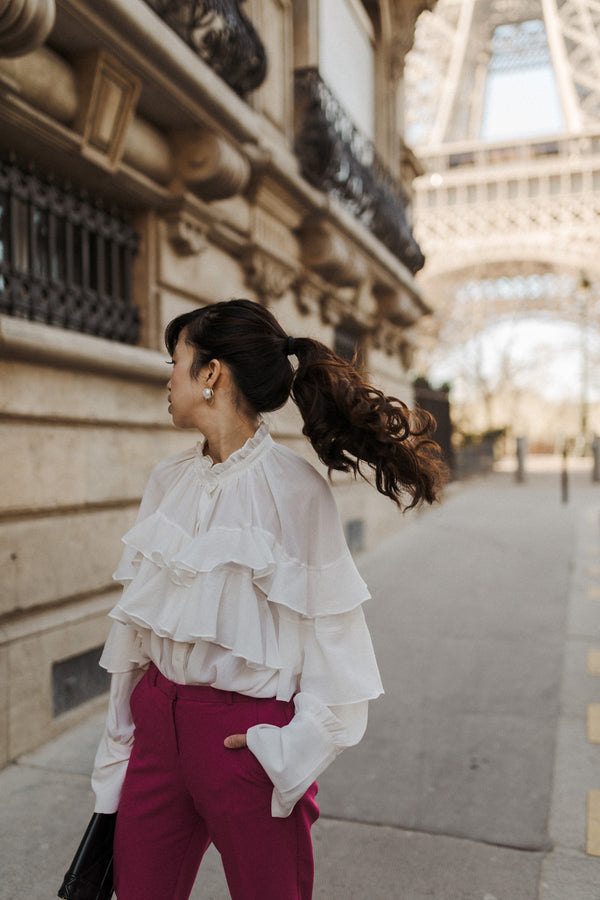 Chiffon Layered Ruffled White Blouse Blouse- Perfect your own way