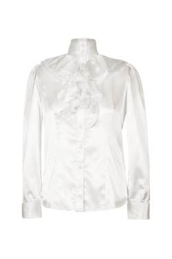 Ruffled Silk Satin White Shirt Top- Perfect your own way