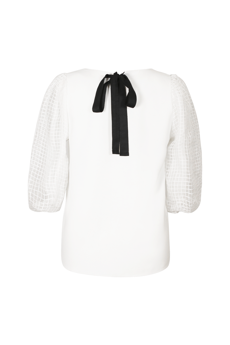 Organza Contrast Sleeve White Top Blouse- Perfect your own way