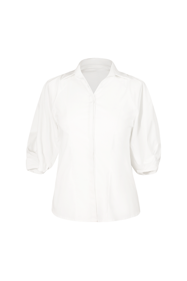 Pleated Volumised Sleeved White Shirt Top- Perfect your own way