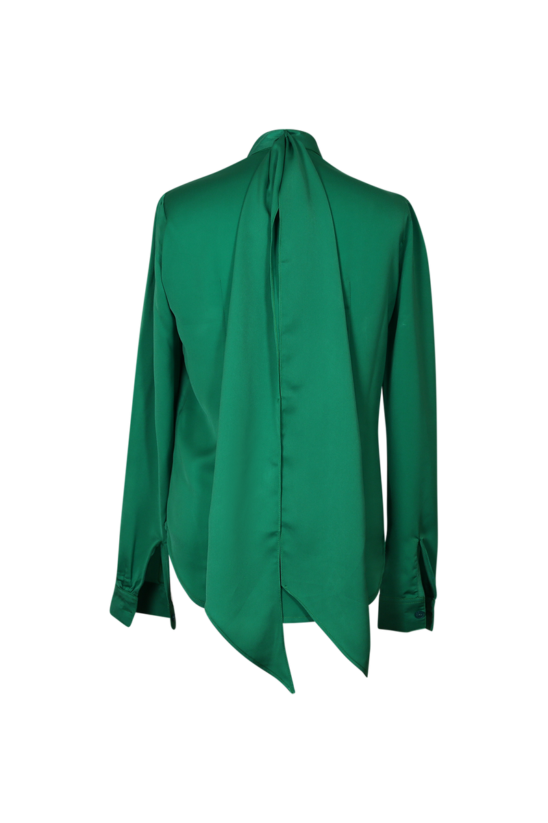 Green Pussy Bow Silk Blouse Top- Perfect your own way