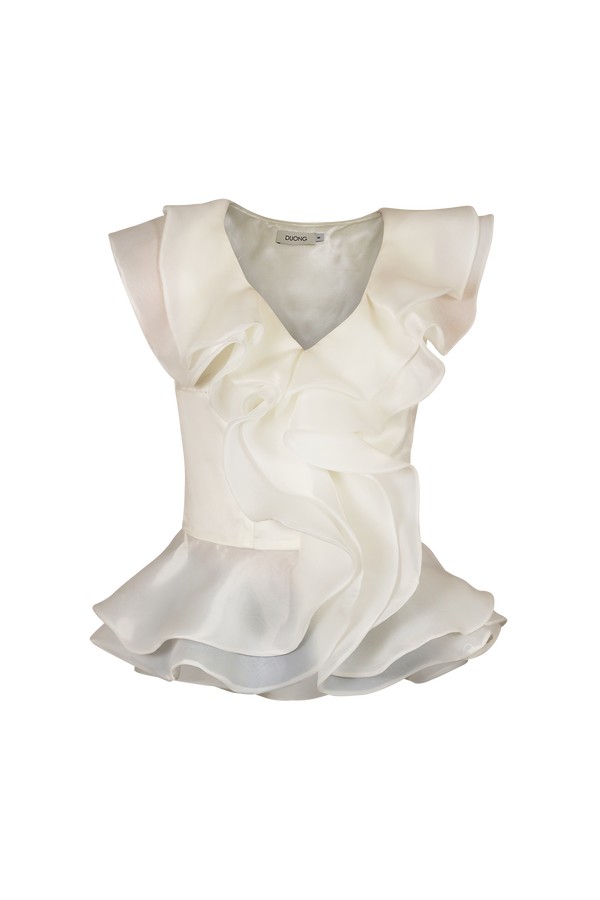 Organza Ruffle Blouse Blouse- Perfect your own way