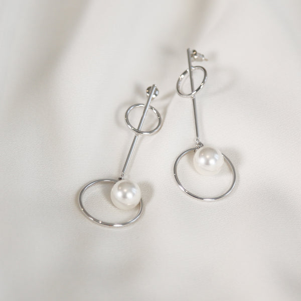 Silver-tone earrings with faux pearl Earrings- Perfect your own way