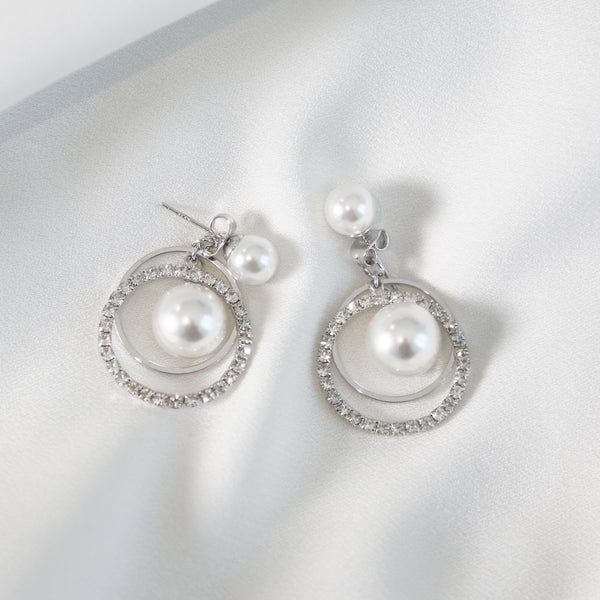 Silver-tone Crystal and Pearl Hoop Earrings Earrings- Perfect your own way