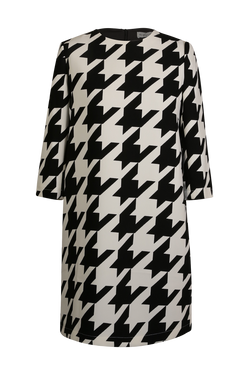 Dogtooth Print Shift Dress Dress- Perfect your own way