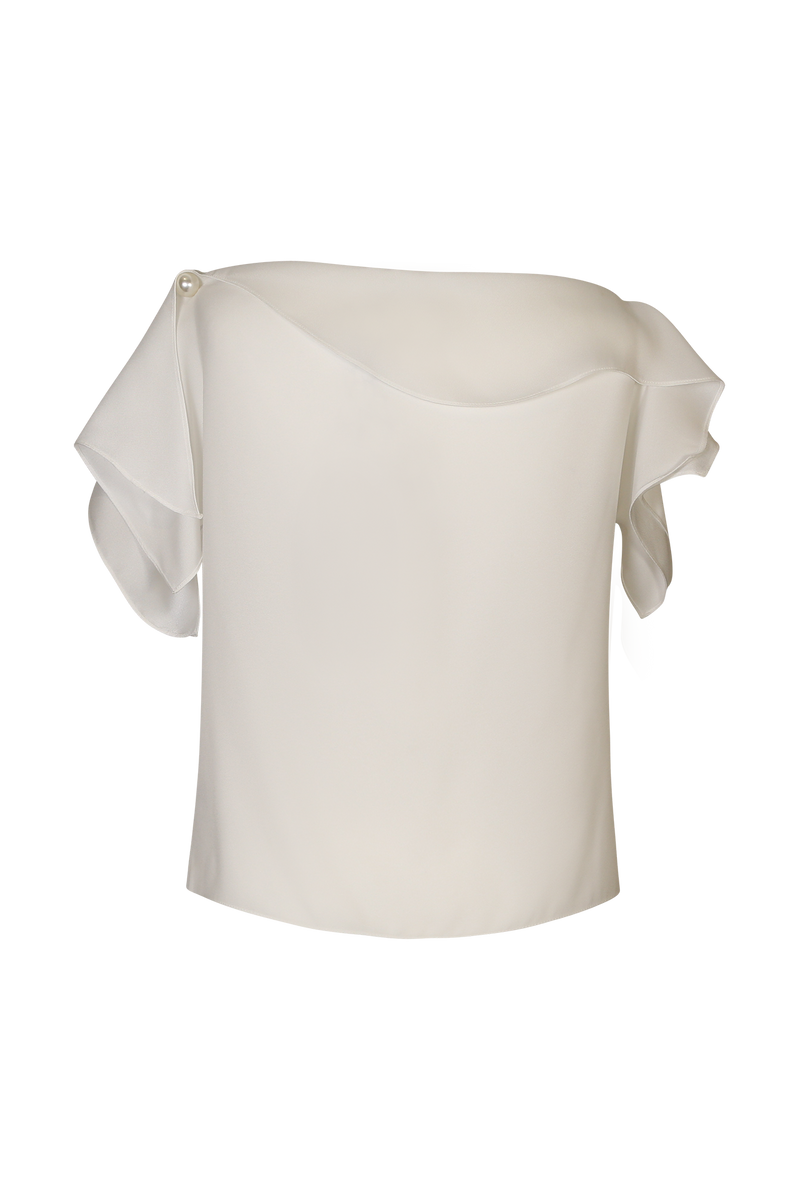 White Waterfall Sleeved One Shoulder Top - Perfect your own way