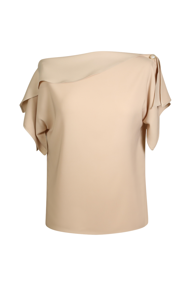One Shoulder Blush Top with Pearl Detail Top- Perfect your own way