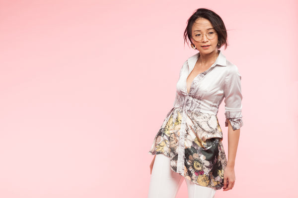 Printed Asymmetrical Peplum Silk Satin Shirt Blouse- Perfect your own way