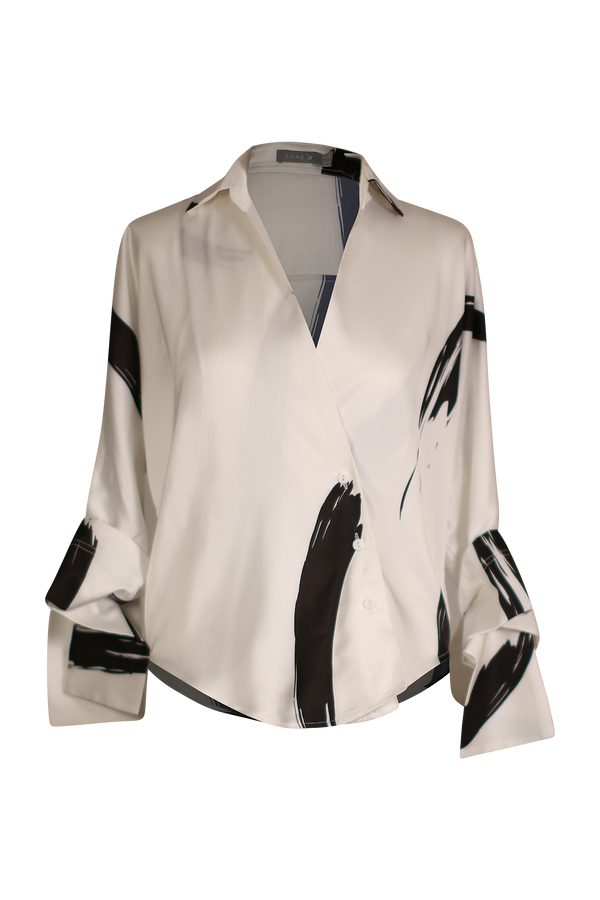 Silky Satin Printed Wrap Top with Origami Sleeve Top- Perfect your own way