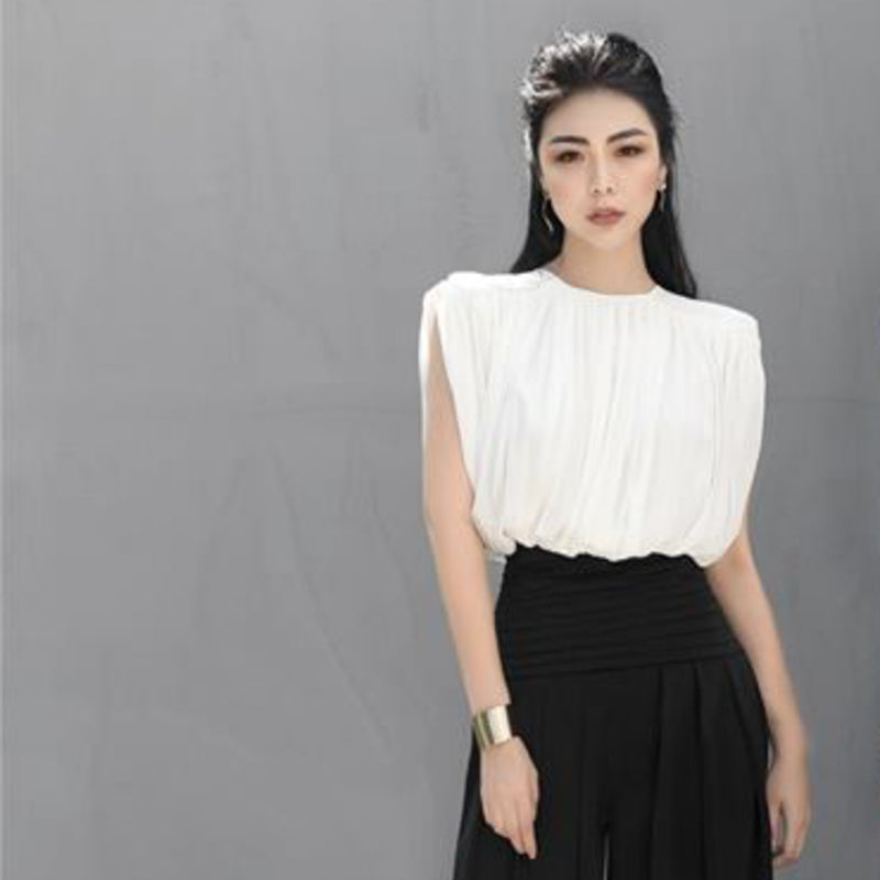 Pleated Chiffon-Crepe Crop Top Top- Perfect your own way