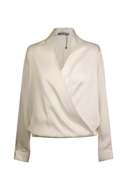 White Silky-Satin Wrap Top with Pearl Buttons Blouse- Perfect your own way