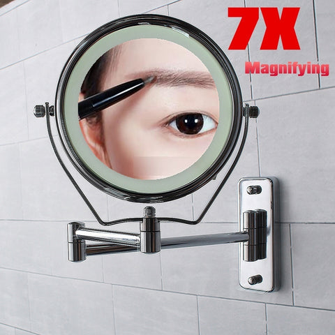 LED Magnifying 7X LED Stand Wall Mount Swing Arm 6'' Makeup Mirror