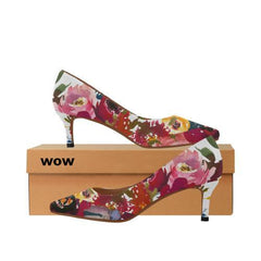WOW | i Collection Women's Pointy Toe Low Kitten Heel Pumps Pinky Floral White Shoes