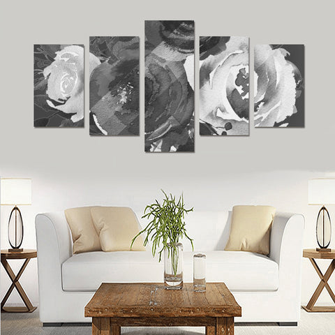 WOW | i Collection 5 Piece B&W Colorful Floral Pattern Wall Art Canvas Print