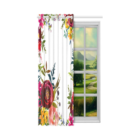 WOW | i Collection Colorful Red Floral Designer 52x63 Window Curtain