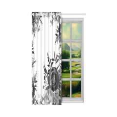 WOW | i Collection B&W Floral Designer 52x63 Window Curtain