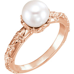 WOW Pearl Fashion | 14K Freshwater Cultured Pearl & .02 CTW Diamond Vintage-Inspired Ring