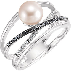 WOW Pearl Fashion | 14K Freshwater Cultured Pearl & 1/8 CTW Diamond Ring