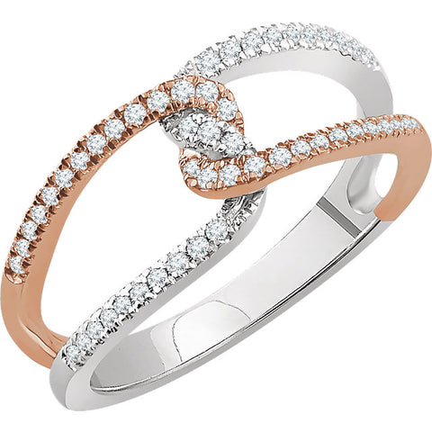 WOW Diamond Fashion | 14K White & Rose 1/4 CTW Diamond Ring
