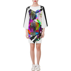 WOW | i Collection Bell Sleeve Colorful Floral Trendy Black & White Dress