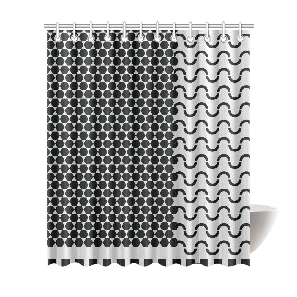 WOW | i Collection Black & Light Grey Hexi S-Wave Designer 72x84 Shower Curtain