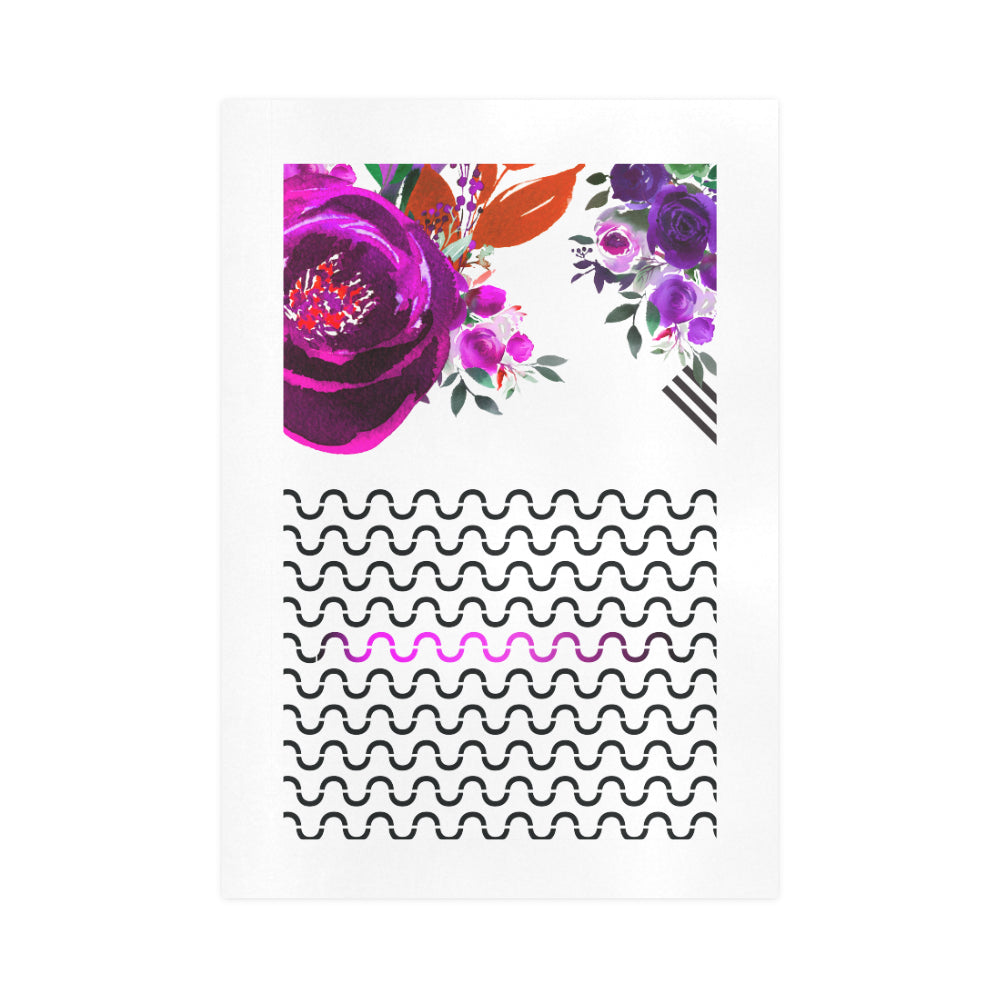 WOW | i Collection Purple Floral & S-Wave Pattern Art Design 16x23 Print