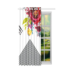 WOW | i Collection Red Floral Circular Design 50x84 White Window Curtain