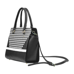 WOW | i Collection Women's Classic Stylify Geo Pattern B&W Shoulder Handbag