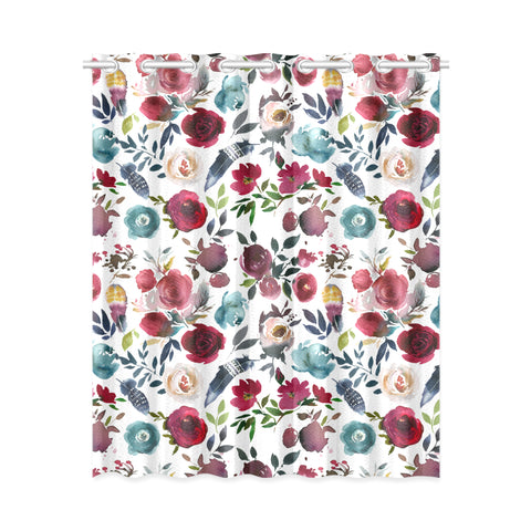 WOW | i Collection Colorful Floral Pattern Design 52x63 White Window Curtain