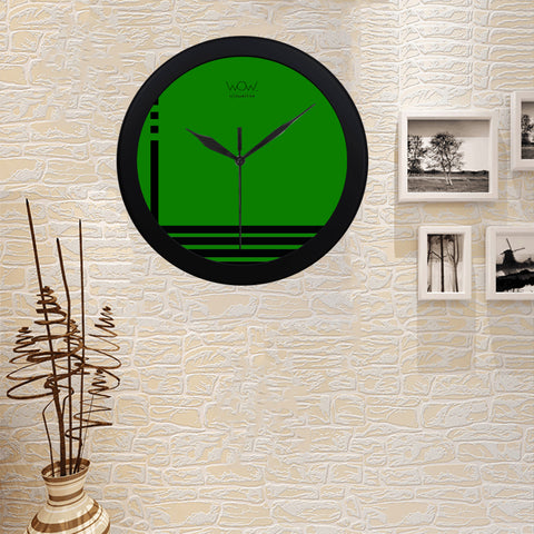 WOW | i Collection B&W Green Elegant Round Black Framing Wall Clock