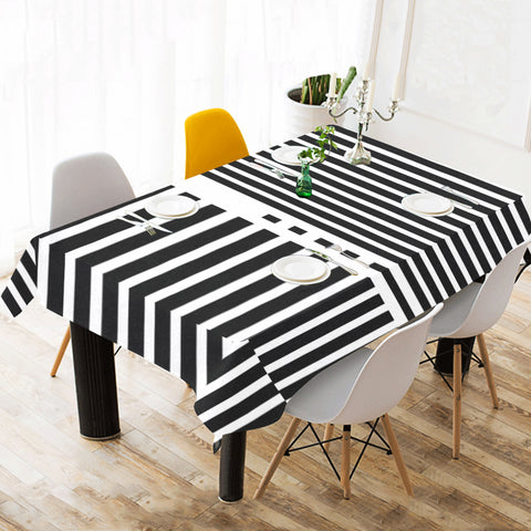 WOW | i Collection B&W Geo Stripes Tablecloth 60x120 Decoration