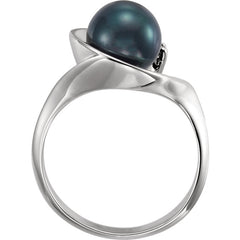WOW Pearl Fashion | 14K White Akoya Cultured Pearl & .03 CTW Diamond Ring