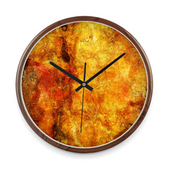 WOW | J Collection Wood Graining 14 Inch Fire Rust Framed Sweep Movement Mute Wall Clock