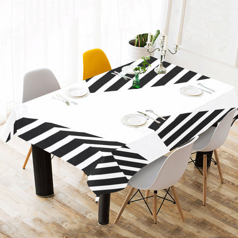WOW | i Collection Black and White Geo Patterns Tablecloth 60x120 Decoration
