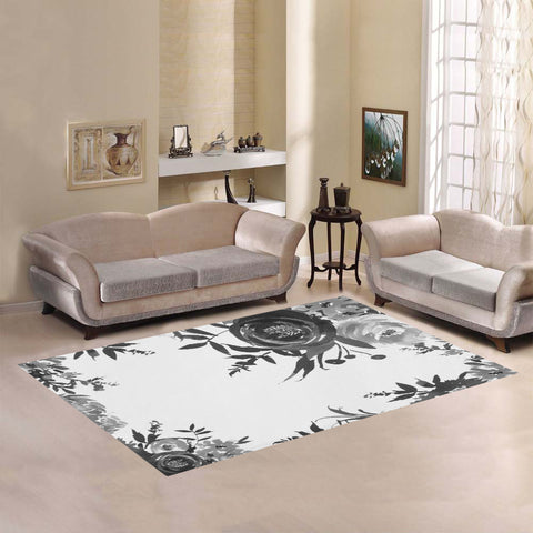 WOW | i Collection Stylish B&W Floral Area Rug 7' x 5'