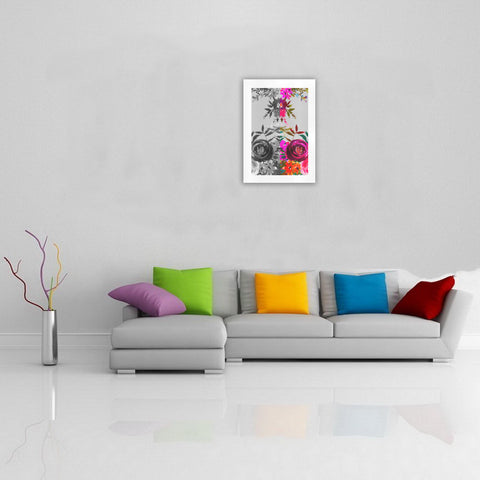 WOW | i Collection Colorful & Black & White Floral Art Design 16x23 Print