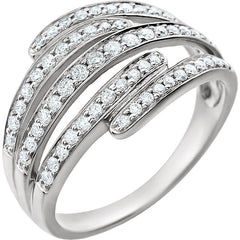 WOW Diamond Fashion | 14K White 1/2 CTW Diamond Multi-Row Accented Ring