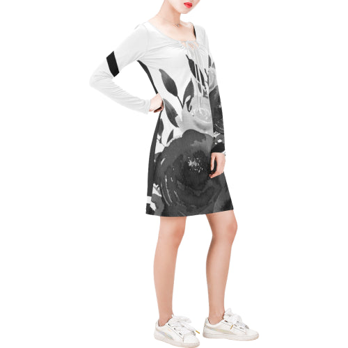 WOW | i Collection Long Sleeves B&W Grey Tone Floral Dress