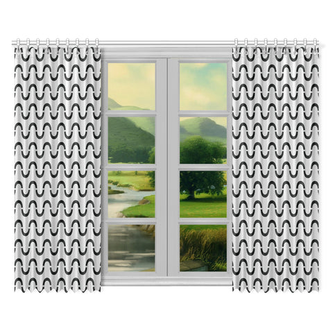 WOW | i Collection Black & Light Grey S-Wave 52x84 2Pcs Window Curtains