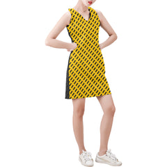 WOW | i Collection Sleeveless Black & Yellow Rectangular Pattern Trendy Dress