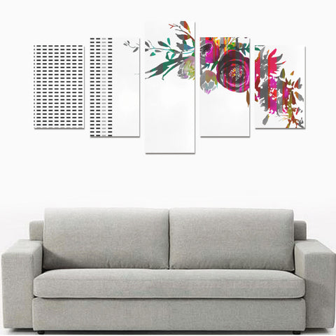 WOW | i Collection 5 Piece Multicolored Floral & Rectangular Pattern Wall Art Canvas Print