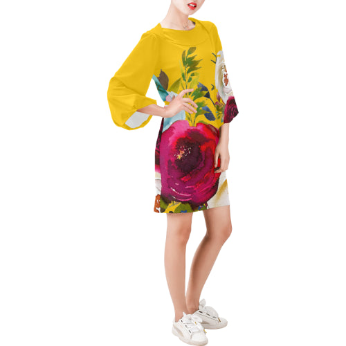 WOW | i Collection Bell Sleeve Colorful Floral Trendy Yellow Tone Dress