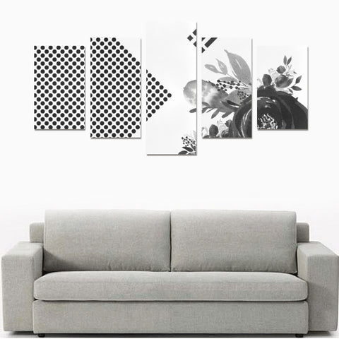 WOW | i Collection 5 Piece Floral & Circular Pattern Wall Art Black Canvas Print