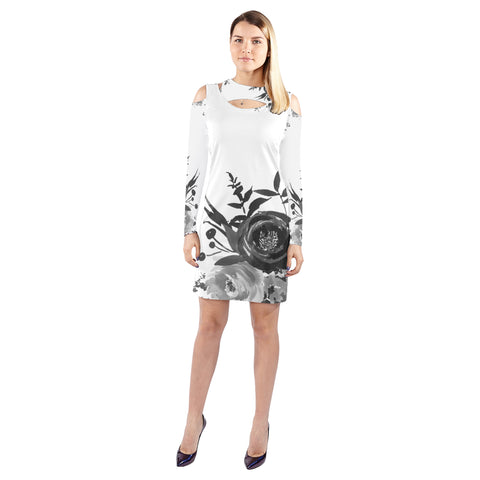 WOW | i Collection B&W Floral Halter Off Shoulder Long-Sleeve White Dress