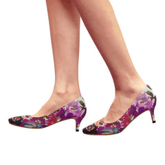 WOW | i Collection Women's Pointy Toe Low Kitten Heel Pumps Purple Floral White Shoes