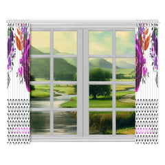 WOW | i Collection Purple Floral S-Wave 52x84 2Pcs White Window Curtains