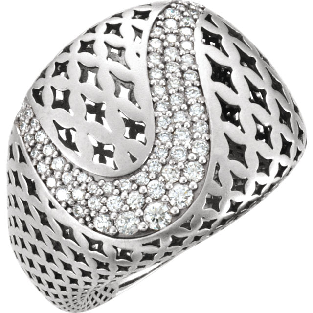 WOW Diamond Fashion | 14K White 5/8 CTW Diamond Pierced Style Ring